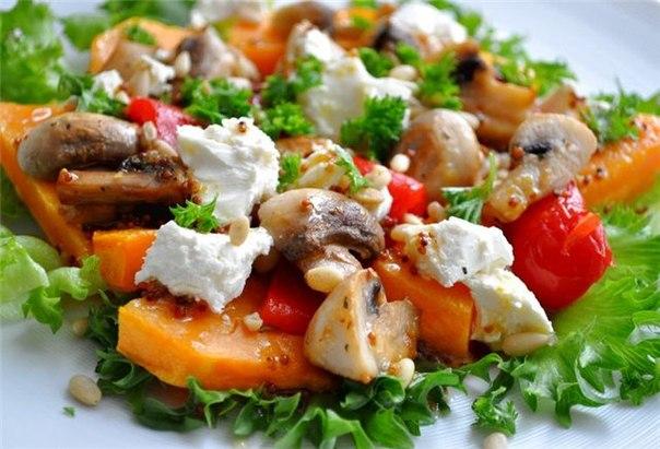 Салат с грибами и фетой.