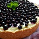 Шоколадно-творожный пирог с черникой.