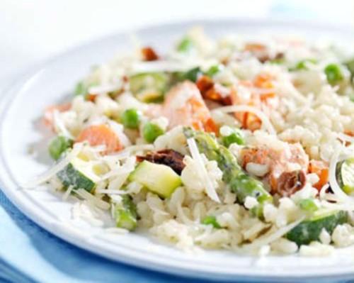 Салат рисовый с грибами.