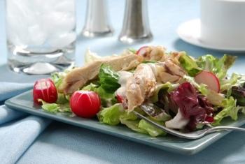Весенний салат с отварными грибами.