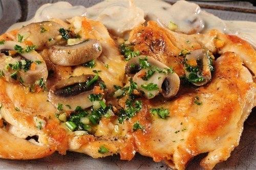 Куриное филе с грибами и сыром.