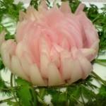 2222 Делаем украшения для вторых блюд и салатов. Хризантема, Роза, Подсолнух, Сакура.