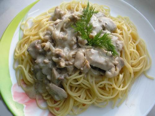 Спагетти с курицей в молочном соусе