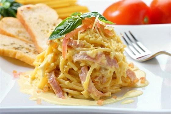 Спагетти карбонара с копченой корейкой