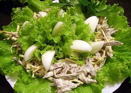 Салат из сердца с овощами