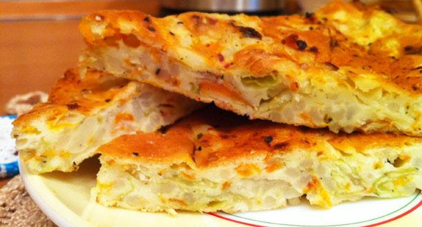 Постный капустный пирог «Ленивец «