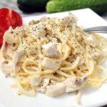 6086 Спагетти с курицей в сливочном соусе