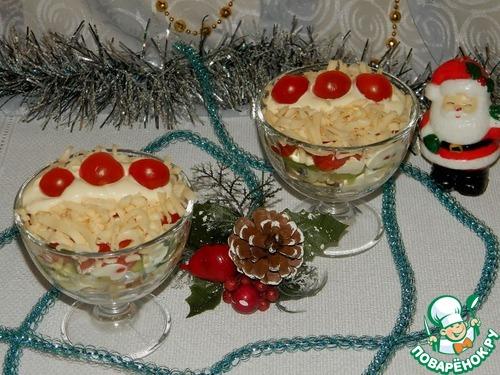 Рецепт Порционный салат «Петушиные гребешки»