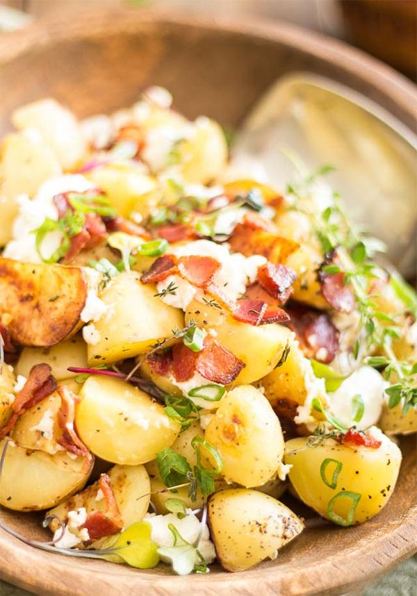 Рецепт Теплый картофельный салат с беконом панграттато