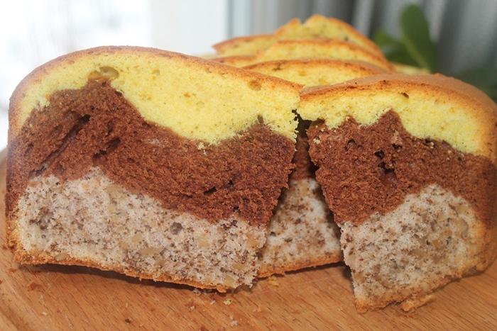 Рецепт Трехцветный кекс с соленой карамелью