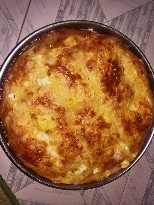 Рецепт Творожно-яблочная баница