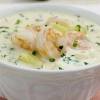 15602 Рецепт Нежнейший сливочный суп с креветками