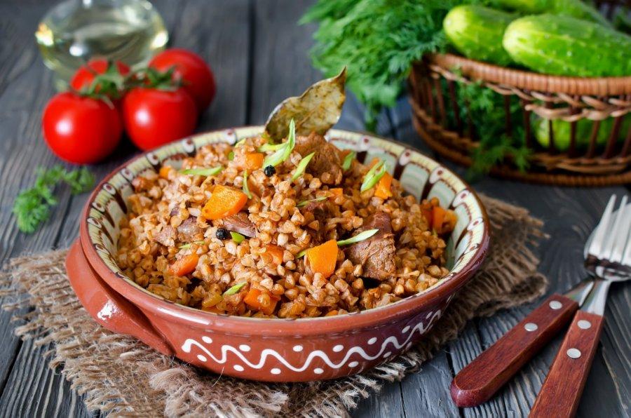 Рецепт Гречка быстрая с мясом и лечо