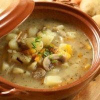 15989 Рецепт Суп из шлифованной фасоли с шампиньонами