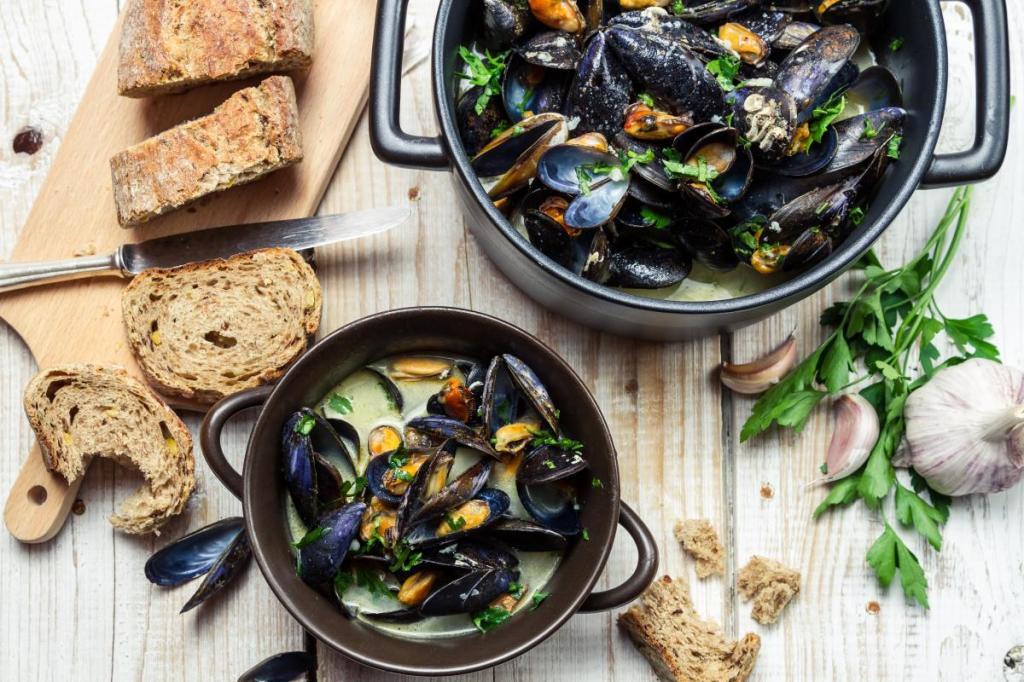16201 Рецепт Мидии в сливочно-винном соусе