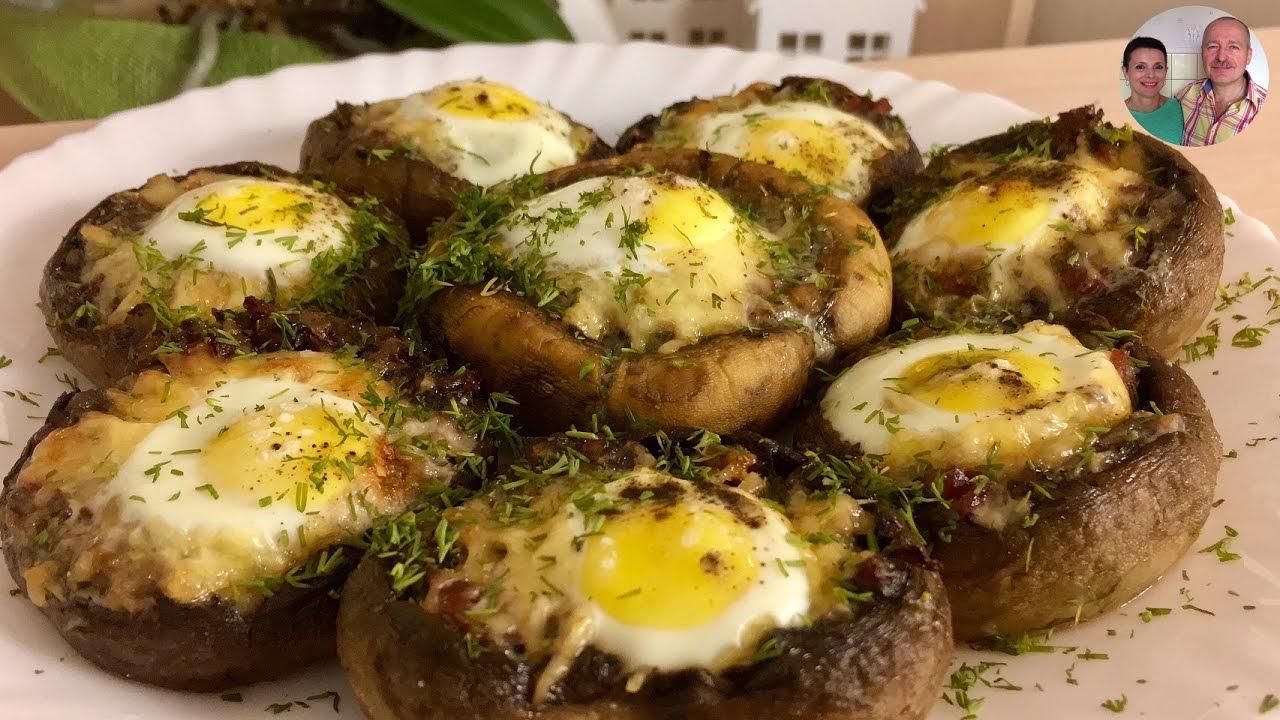 Рецепт Шампиньоны с запеченным яйцом