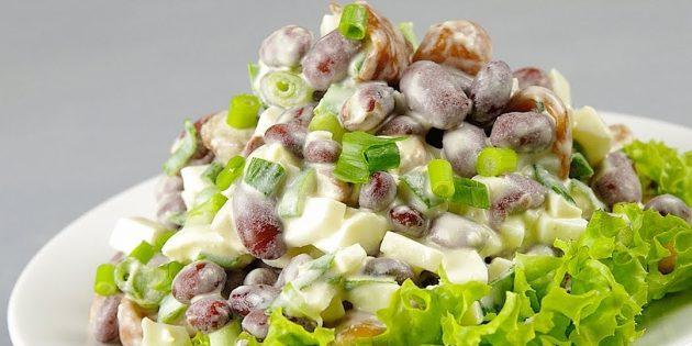 Рецепт Салат с фасолью и шампиньонами
