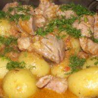 """16734 Рецепт Тушеный картофель с мясом """"Папин"""""""