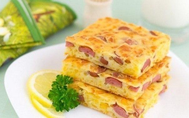 Рецепт Пирог с сыром и колбасой