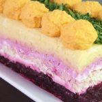 16822 Рецепт Слоеный салат с морковными шариками