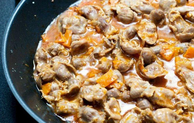 Рецепт Овощное рагу с куриными желудками